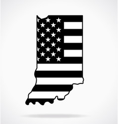usa flag in indiana state shape black and white vector image