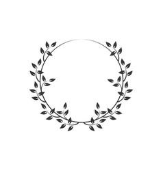 vintage floral round frames black decorative ivy vector image
