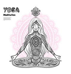 Vintage girl in a meditation pose vector image