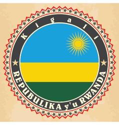 Vintage label cards of Rwanda flag vector