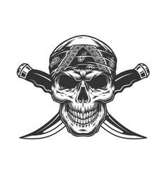 Vintage monochrome gangster skull in bandana vector