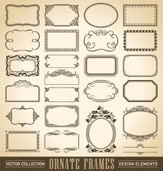 vintage ornate borders set 24 vector image