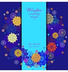 Wedding wreath frame design Winter snowflakes vector