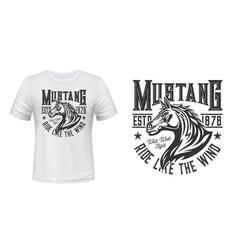Wild mustang stallion t-shirt print mockup vector