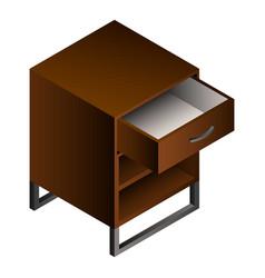 wood nightstand icon isometric style vector image