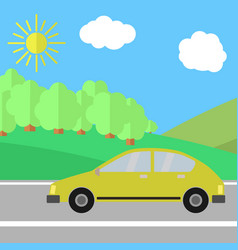 yellow car on a road vector image