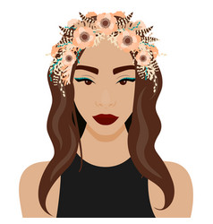 girl with wreath vector image vector image