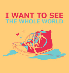 motivational travel poster with sneakers vector image