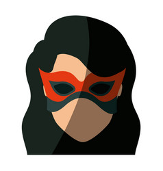 Colorful silhouette with faceless girl superhero vector