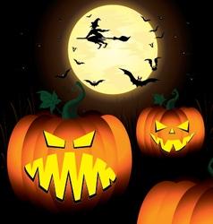 Halloween pumpkin and witch spooky tree bats in vector