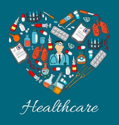 healthcare heart medicine symbol vector image