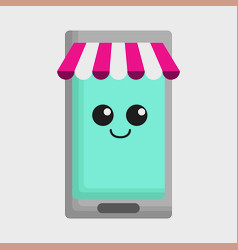 kawaii smartphone icon vector image