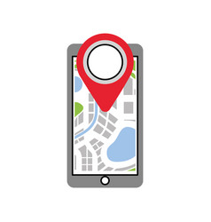 navigation gps on smartphone with map pointer and vector image vector image