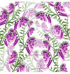 Pattern of green branches with flowering purple vector