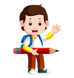 boy holding big pencil vector image vector image