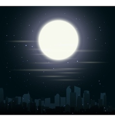 city skylines with moon vector image