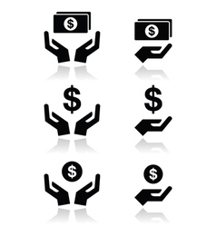 Hands with dollar banknote coin icons set vector image vector image
