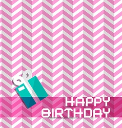 Happy Birthday Retro Pink Background with Gift Box vector image vector image