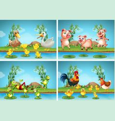 Scenes with farm animals vector