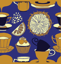 tea time pattern design vector image vector image