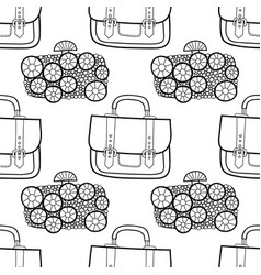 Black and white seamless pattern with fashion bags vector