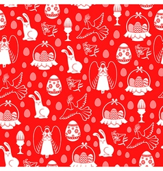 Easter angel pattern red vector