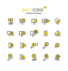 easy icons 41d internet earnings vector image