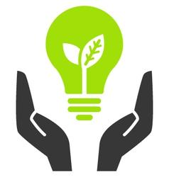 green ecology bulb in open hands vector image