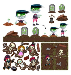 Set of game elements with zombie character vector image vector image