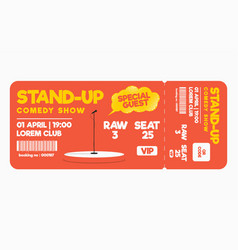 Stand up comedy show ticket isolated on white vector