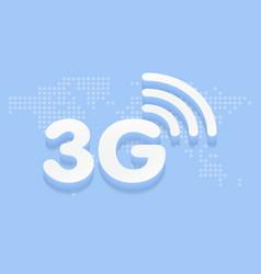 3g fast internet 3d sign in blue background vector image