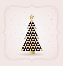 Abstract black and golden triangle christmas tree vector