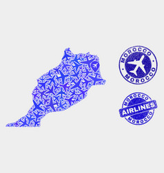 airplane composition morocco map and grunge vector image