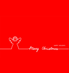 Angel simple outline and merry christmas text vector
