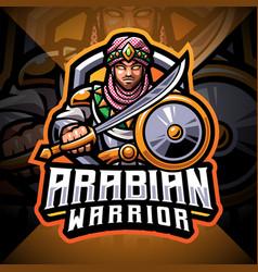 Arabian warriors esport mascot logo design vector