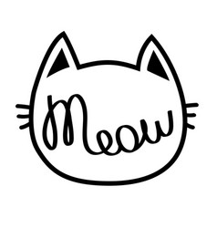 black cat contour head meow lettering text cute vector image