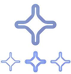 Blue line corporate logo design set vector image