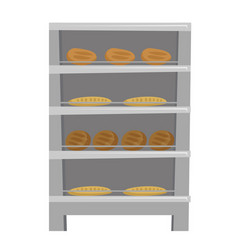 Bread and loaf displayed on shelves cartoon vector