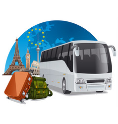 bus tour in europe vector image