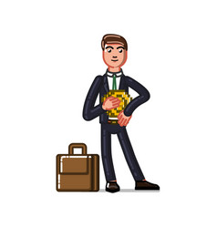 Business man holds crupto curency coin vector