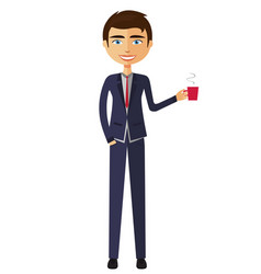 businessman with a cup of tea and teapot vector image