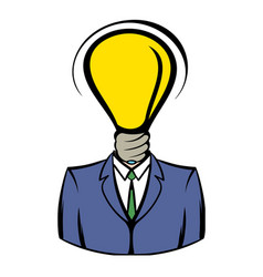businessman with lamp-head icon icon cartoon vector image