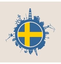Cargo port relative silhouettes Sweden flag vector image