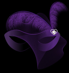 Carnival half-mask and purple feathers vector