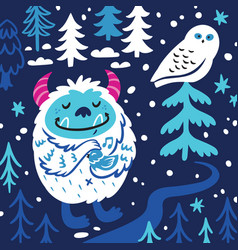 cartoon bigfoot or yeti loves birds fantasy vector image