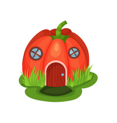 Cartoon fantasy house in shape of red pumpkin with vector