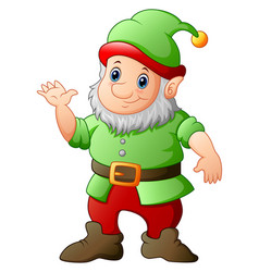 cartoon garden gnome waving hand vector image