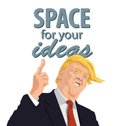 cartoon portrait of donald trump giving a speech vector image