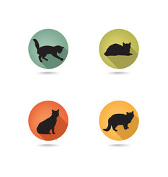 Cats silhouette icon set kitten in different pose vector