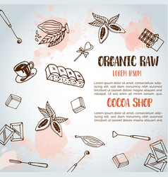 chocolate cacao sketch background design menu for vector image